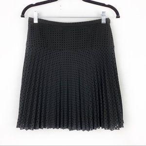 J. CREW Black Laser-Cut Pleated Mini Skirt Skater